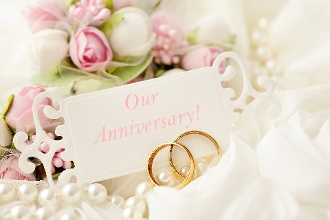 Our Anniversary - Rings Flowers & Card