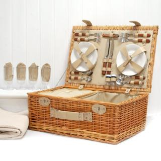 Romantic Picnic Basket Set of 4